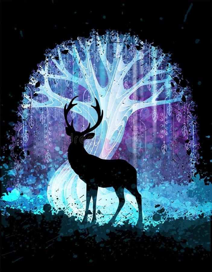 Rotwildschattenbild vor magischem surrealem Baum in der Nacht Grunge vektorabbildung Klagen für Plakat oder Hintergrund stock abbildung