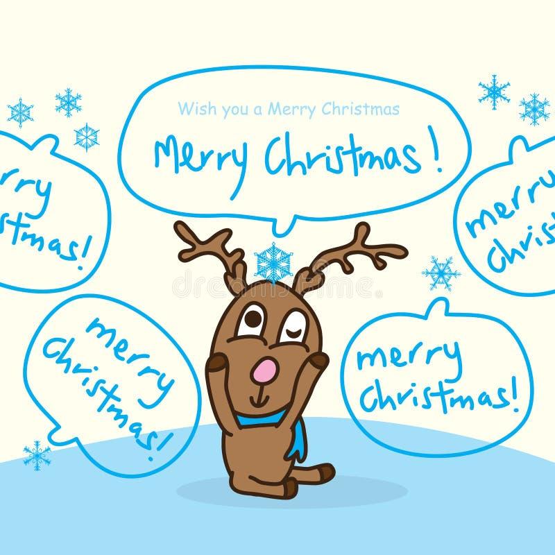 Rotwildschlafschneeflocke frohe Weihnachten stock abbildung