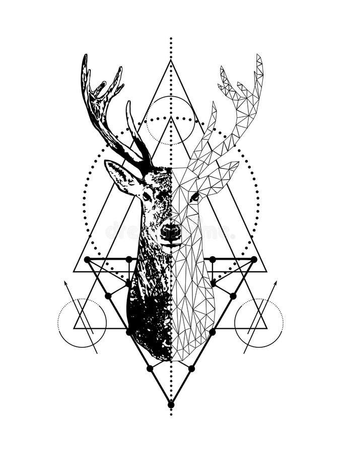 Rotwildtätowierungskunst-Artentwurf des Vektors kreativer geometrischer Niedriger Polyrotwildkopf mit Dreieck lizenzfreie abbildung
