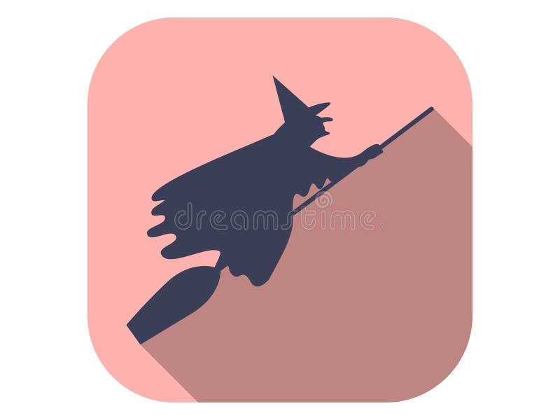 Rotzunge auf einem Besen-flachen Icon mit langem Schatten Halloween, 31. Oktober, Vector lizenzfreie abbildung