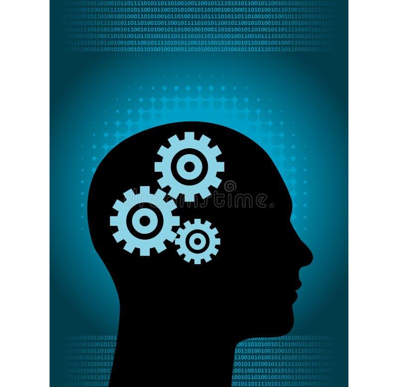 Rouage d'horloge de cerveau illustration de vecteur