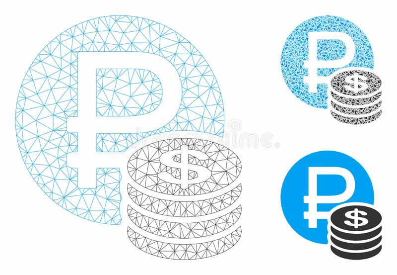 Rouble and Dollar Coins Vector Mesh Carcass Model and Triangle Mosaic Icon. Mesh rouble and dollar coins model with triangle mosaic icon. Wire carcass triangular vector illustration