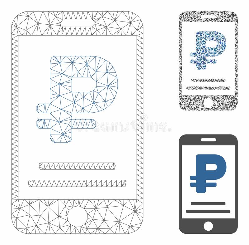 Rouble Mobile Payment Vector Mesh Carcass Model and Triangle Mosaic Icon. Mesh rouble mobile payment model with triangle mosaic icon. Wire carcass triangular royalty free illustration