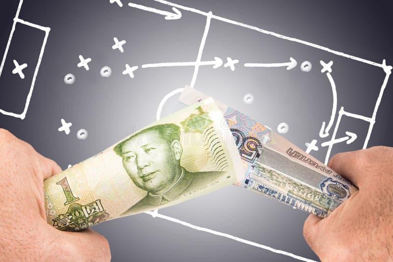 Rouble russe et taux de conversion chinois de yuans image libre de droits