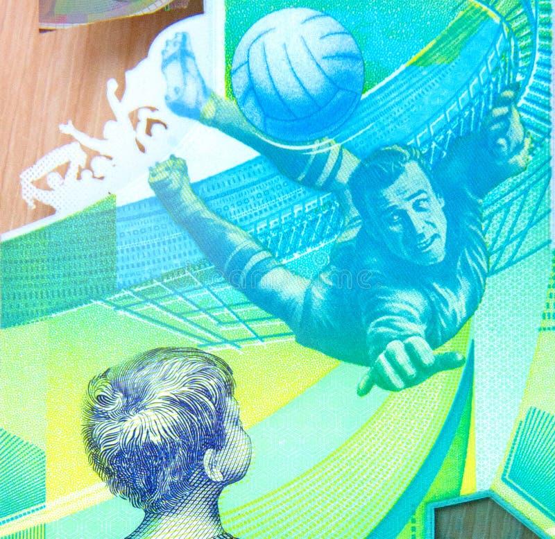 100 roubles commémoratifs en l'honneur de la coupe du monde en Russie images stock
