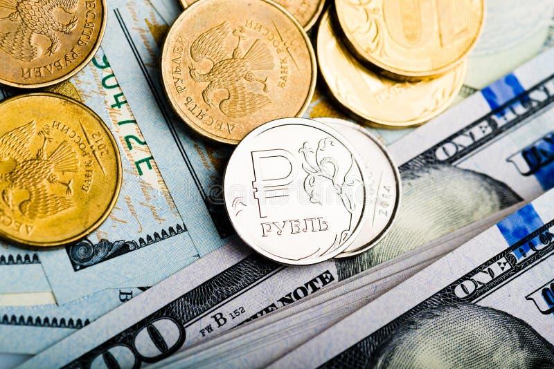 Roubles russes de pièces de monnaie image libre de droits