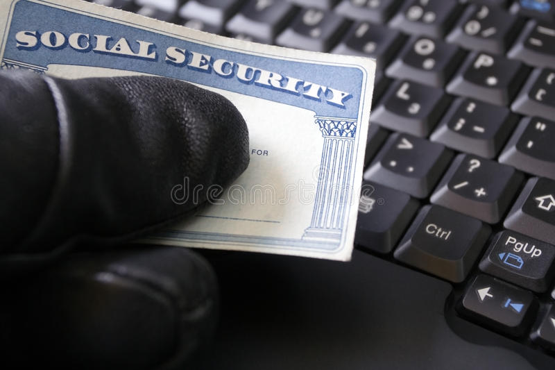 Roubo de identidade e cartão de segurança social fotos de stock royalty free