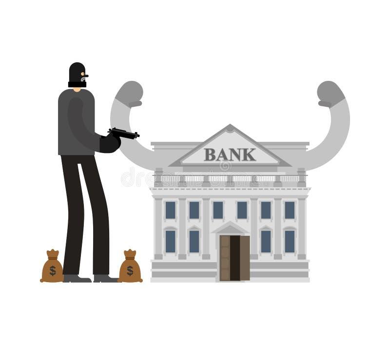 Roubo a um banco Ladrão e saco do dinheiro Assaltante na máscara plundere ilustração royalty free