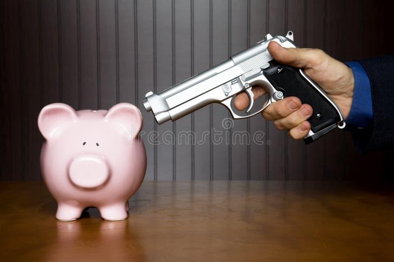 Roubo a um banco Piggy fotografia de stock