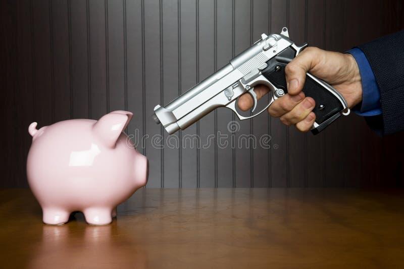 Roubo a um banco Piggy fotos de stock