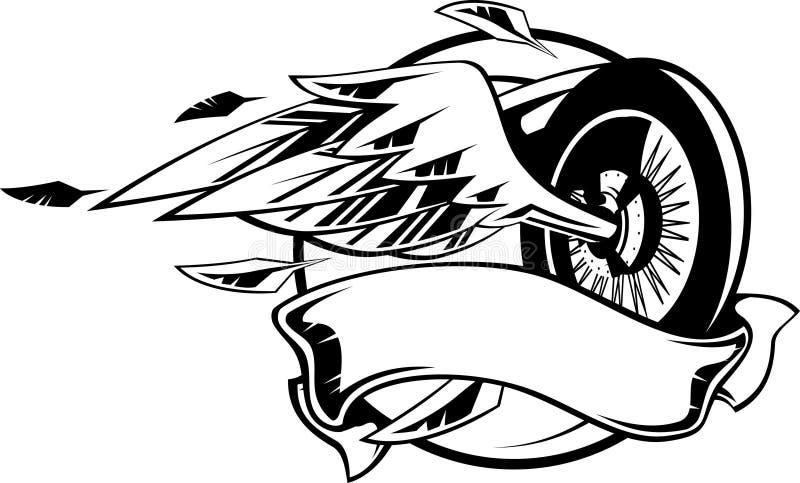 Roue avec des ailes illustration stock