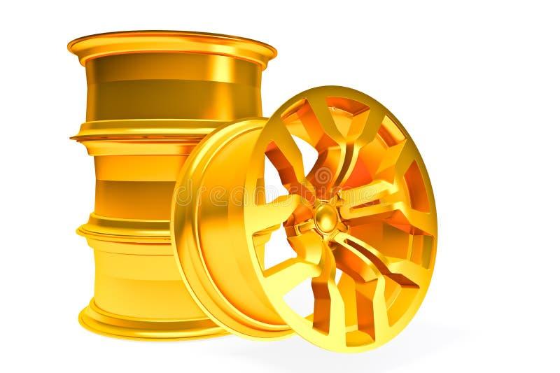 Roue d'alliage d'or de voiture au-dessus de blanc illustration libre de droits