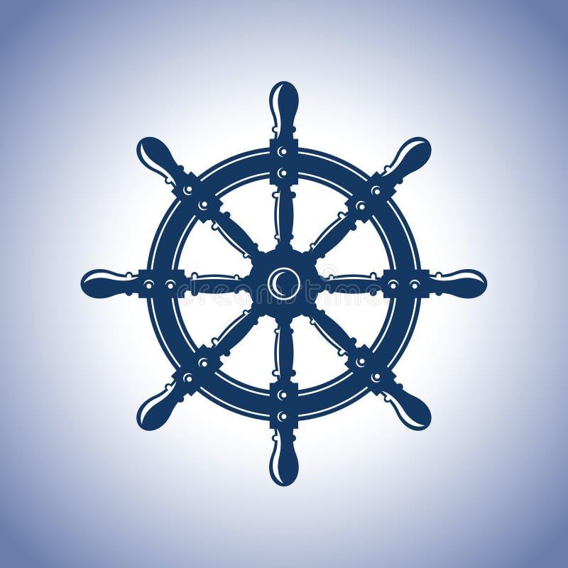 Roue de bateau de cru Emblème de vecteur de beauté d'abrégé sur bateau illustration libre de droits