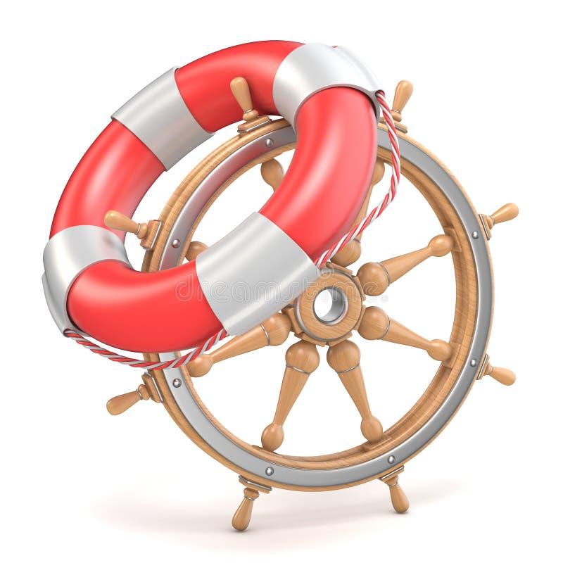 Roue de bateau et balise de vie en bois 3D illustration libre de droits