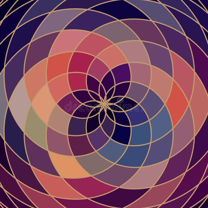 Roue de couleur de spectre de mosaïque faite de formes géométriques Arc-en-ciel Co illustration libre de droits
