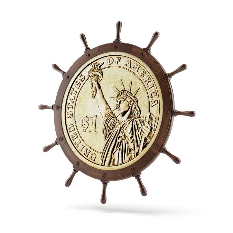 Roue de direction de bateau avec la pièce de monnaie du dollar illustration de vecteur