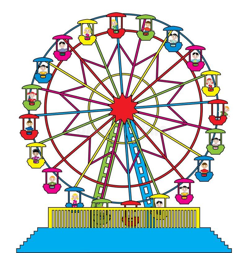 Roue de Ferris avec les enfants heureux illustration libre de droits