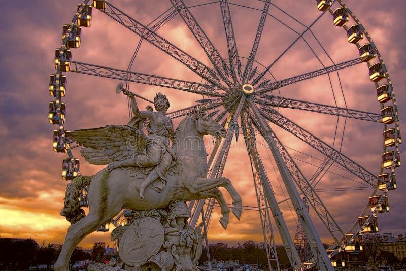 Roue de Ferris Paryski koło, Paryż, Francja zdjęcia royalty free