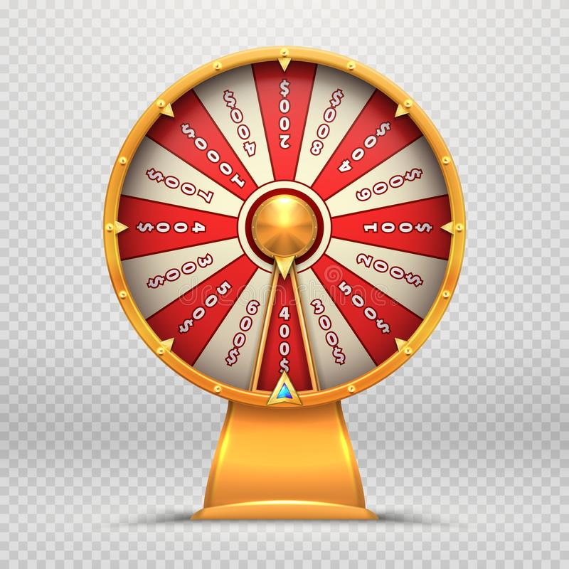 Roue de fortune La roulette de rotation 3d roule l'illustration d'isolement par symbole de jeu de jeu chanceux de loterie illustration stock