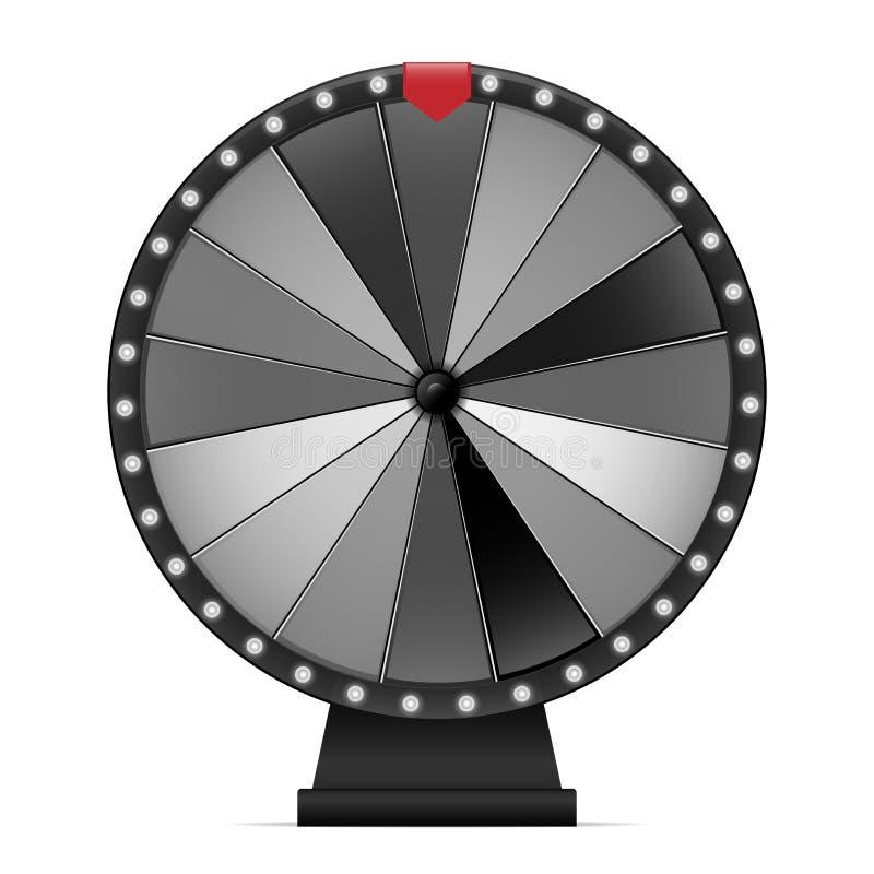 Roue de fortune Rotation chanceuse noire et blanche avec la flèche rouge illustration libre de droits