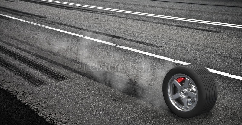 Roue de freinage de secours avec de la fumée sur l'omnibus illustration de vecteur