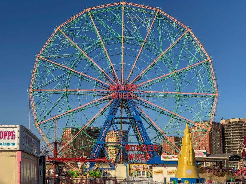 Roue de merveille - Coney Island image libre de droits