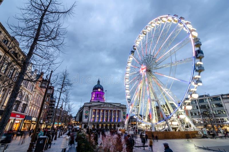 Roue de Nottingham dans la vieille place du marché image libre de droits