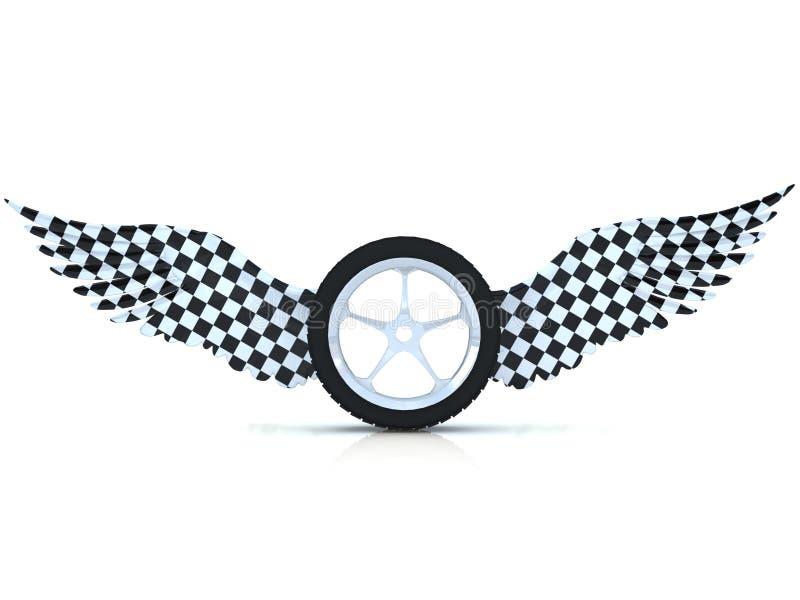 Roue de pneu de véhicule avec des ailes. illustration de vecteur
