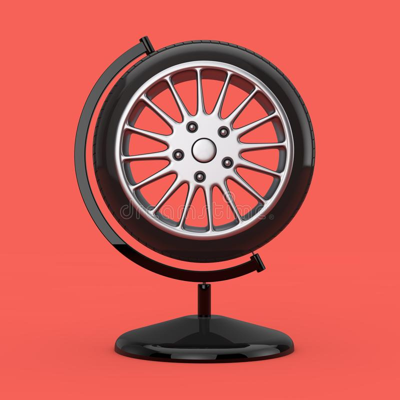 Roue de pneu de voiture sous forme de globe de la terre rendu 3d illustration libre de droits