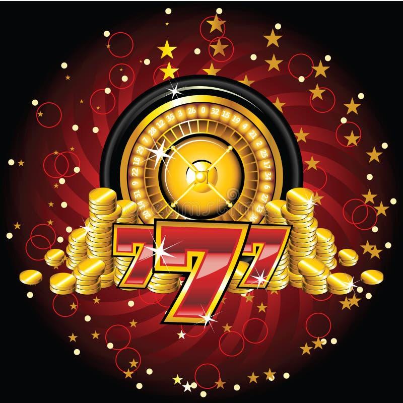 Roue de roulette d'or illustration stock