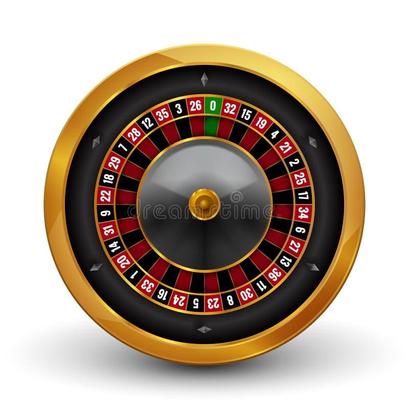 Roue de roulette de jeu de casino réaliste d'isolement sur le fond blanc Illustration de roue de roulette de chance d'occasion de illustration stock