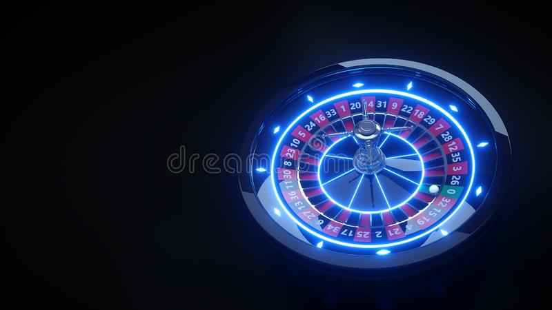 Roue de roulette en ligne de luxe de casino avec les lampes au néon - illustration 3D illustration de vecteur