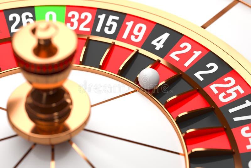 Roue de roulette de luxe de casino sur le fond noir Thème de casino Roulette blanche en gros plan de casino avec une boule sur zé illustration libre de droits