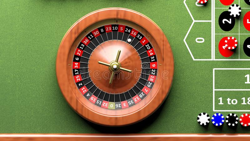 Roue de roulette sur la table verte, jetons de poker illustration de vecteur