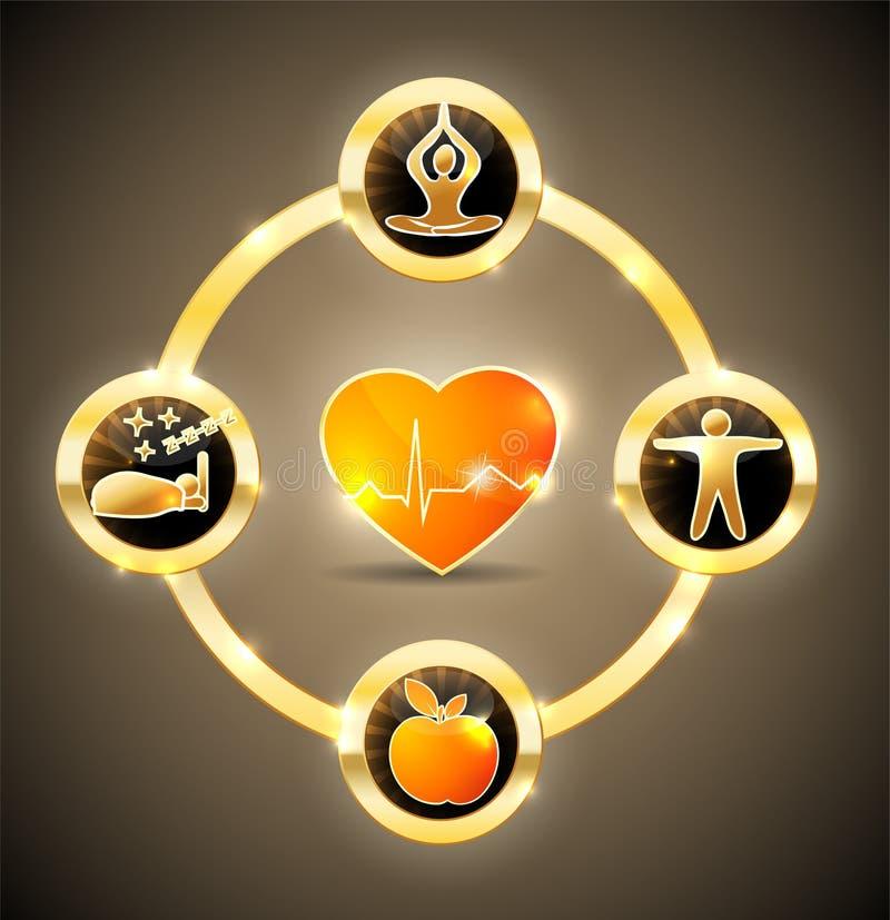 Roue de santé de coeur illustration libre de droits