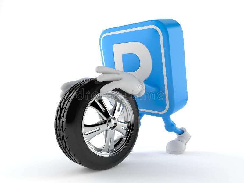 Roue de secours de roulement de caractère de symbole de stationnement illustration libre de droits