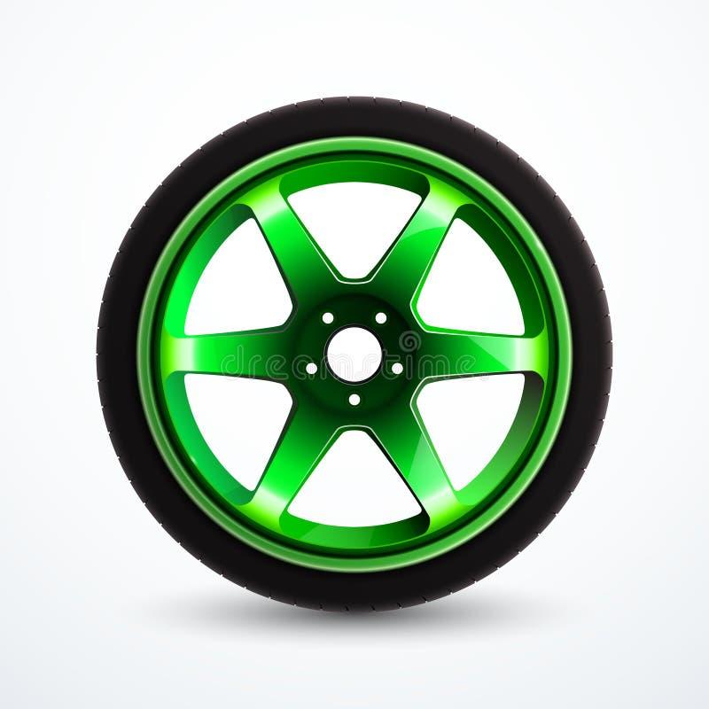 Roue de sport de vecteur avec la jante verte Roue d'alliage de véhicule d'isolement illustration de vecteur