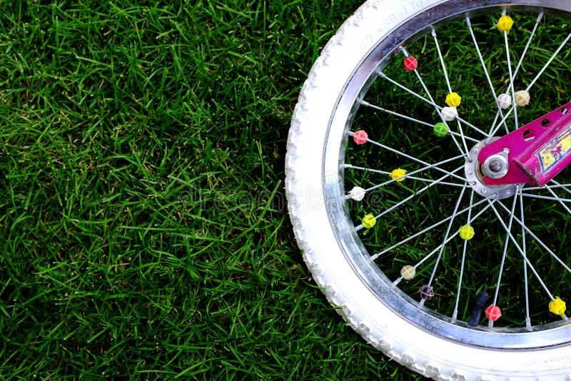 Roue de vélo sur l'herbe photos stock