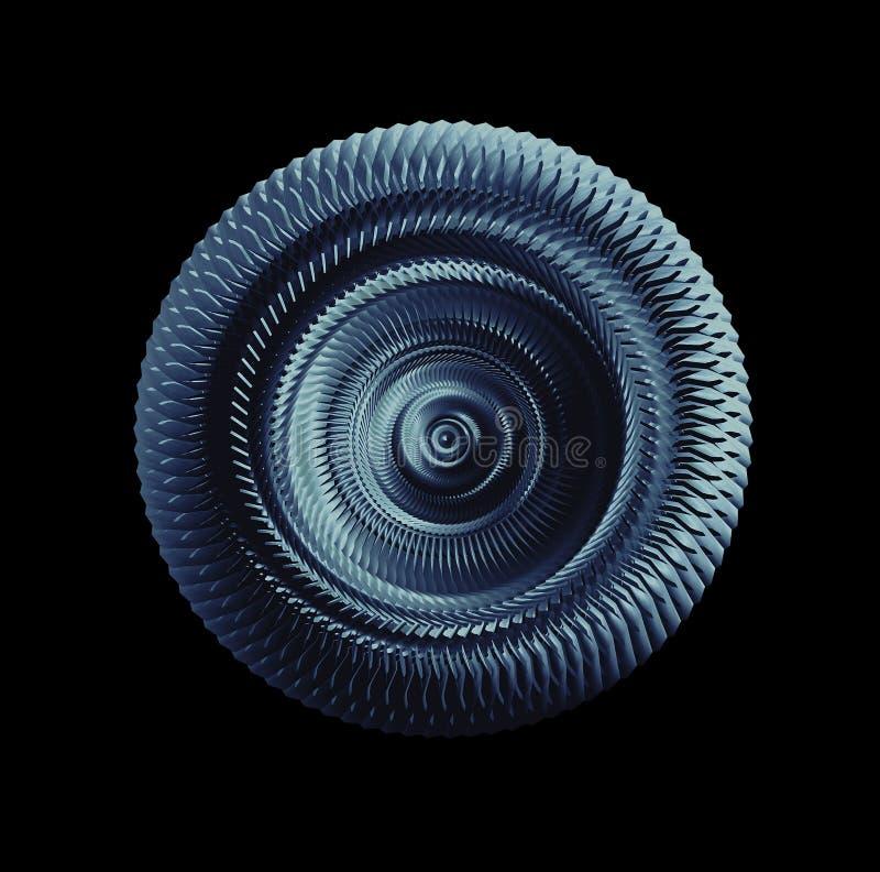 Roue de vitesse métallique bleue d'isolement au-dessus du fond noir images stock