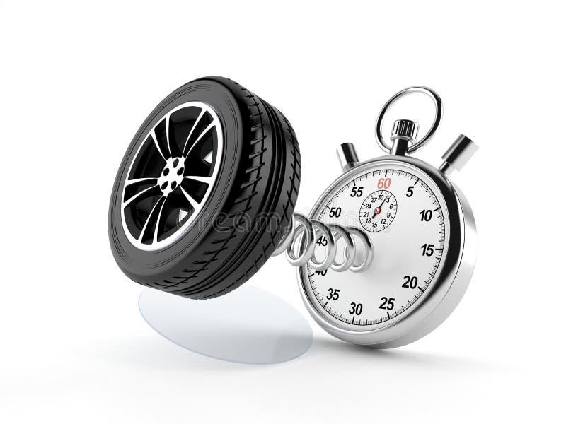 Roue de voiture avec le chronomètre illustration de vecteur