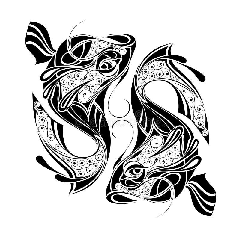 Roue de zodiaque avec le signe de la conception de Pisces.Tattoo illustration de vecteur