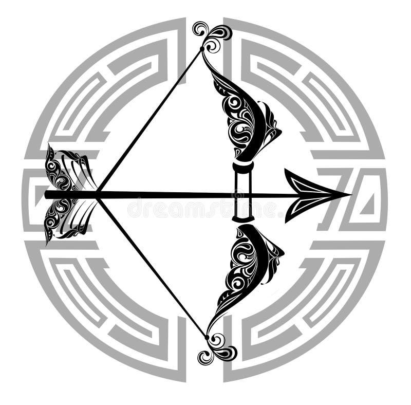 Roue de zodiaque avec le signe du Sagittaire illustration de vecteur