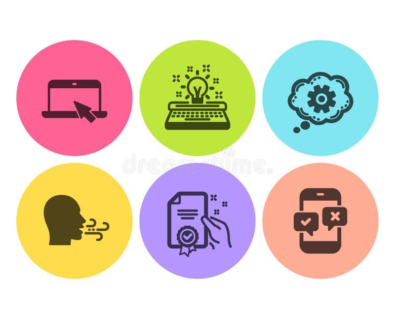 Roue dentée, certificat et ensemble de respiration d'icônes d'exercice Signes d'enquête d'ordinateur portable, de machine à écrir illustration stock