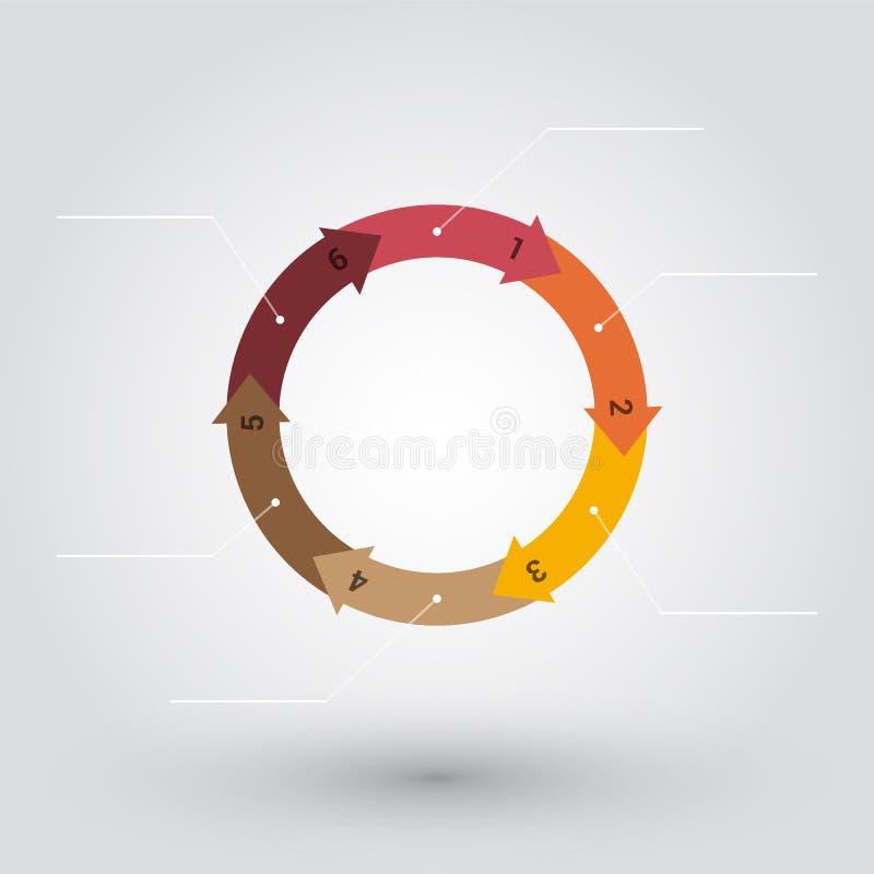Roue des flèches numérotées par pastel colorées illustration stock