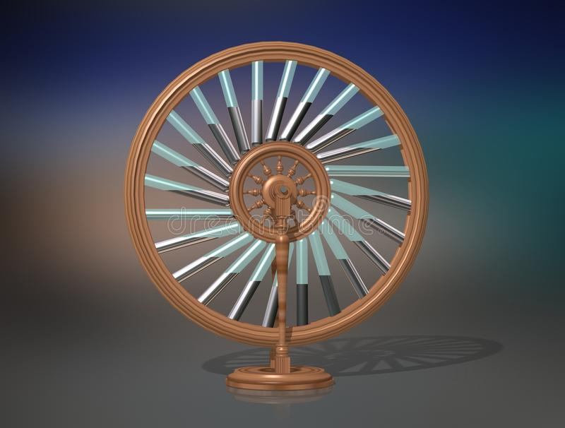 Roue du ` s de Bhaskara Machine de mouvement perpétuel Mobile de Perpetuum physique illustration stock