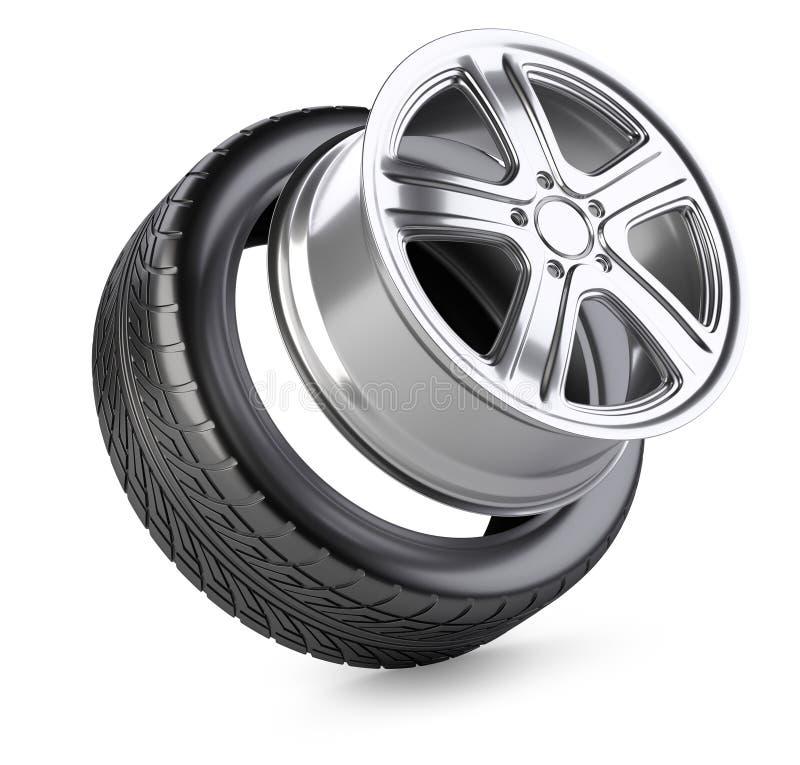 Roue et pneu d'alliage d'aluminium pour la voiture illustration de vecteur