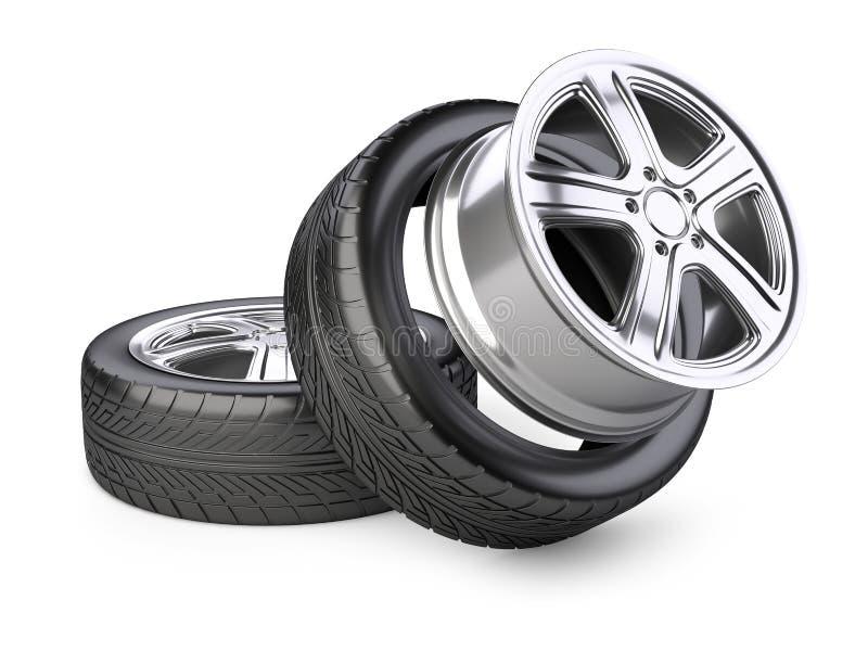 Roue et pneu d'alliage d'aluminium pour la voiture illustration stock