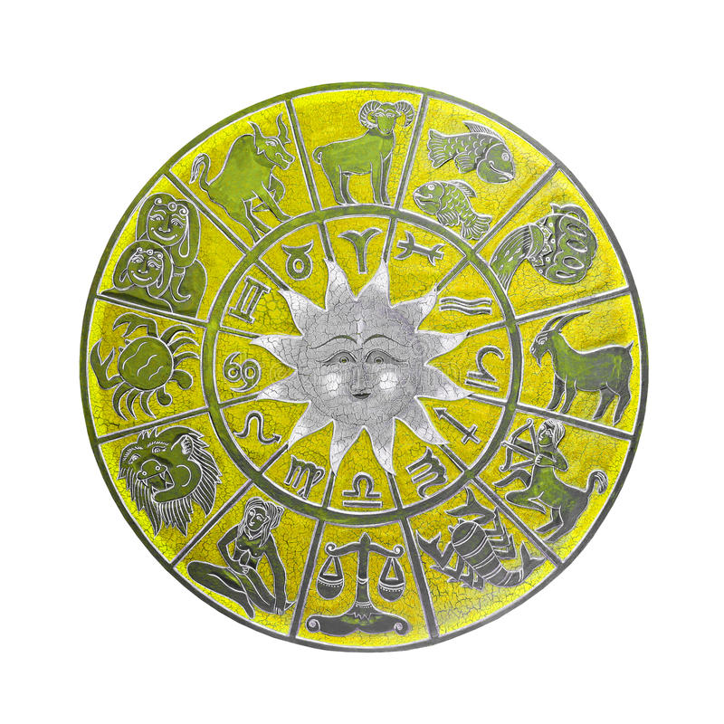Roue jaune d'horoscope images stock