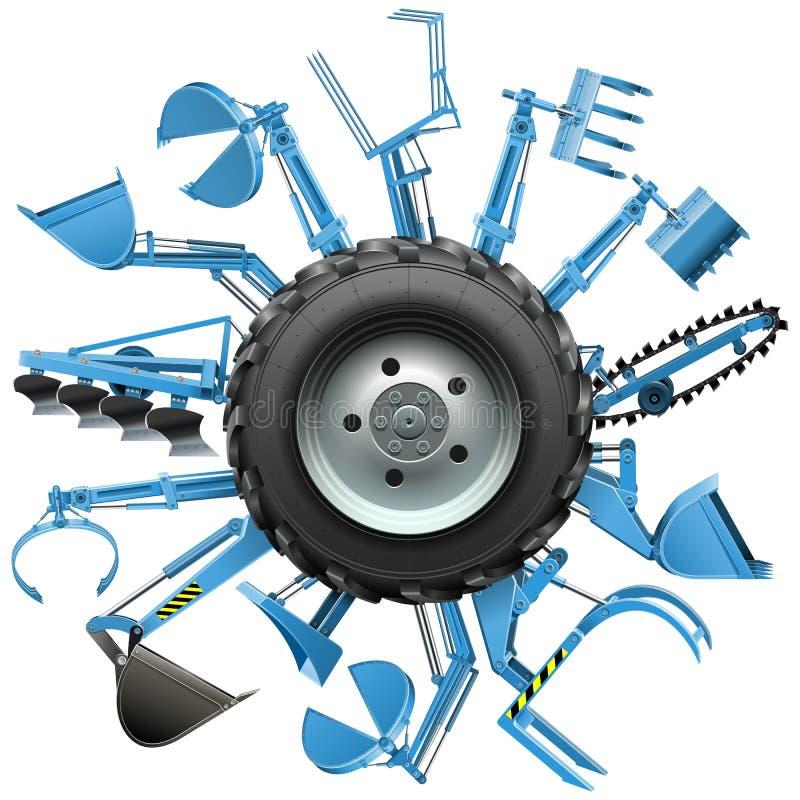 Roue multi de tracteur de vecteur illustration de vecteur
