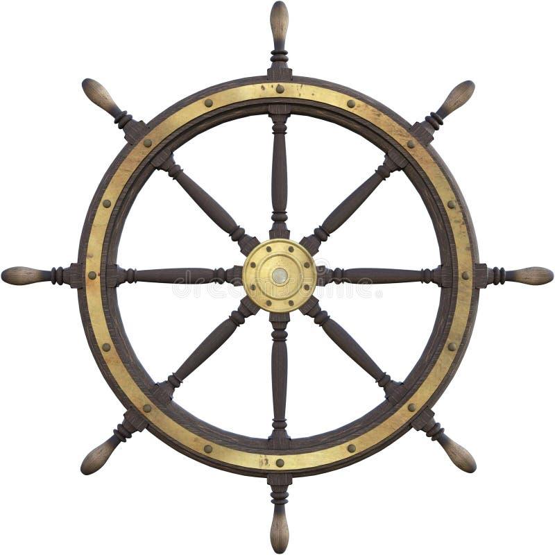 Roue nautique de bateau de vintage d'isolement images libres de droits